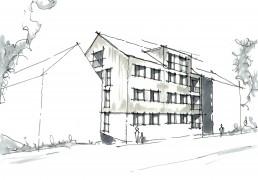 Neubau eines Mehrfamilienhauses mit 12 Wohneinheiten in Auerbach in der Oberpfalz.